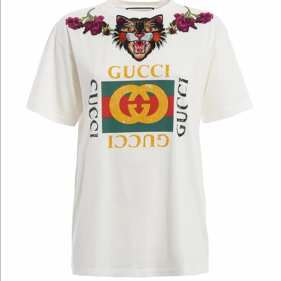 b4901b8d6880 Gucci Tops | Authentic Embroidery Floral Angry Cat Tshirt | Poshmark